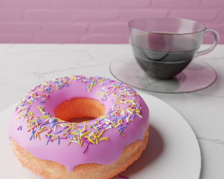 donuts and coffee render